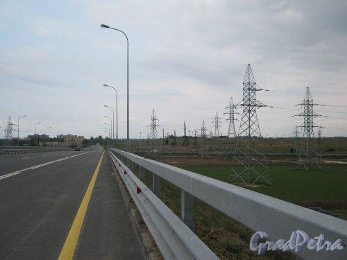 Петродворцовый р-н, Ропшинское шоссе в районе пересечения с КАД. Вид в сторону Петергофа. Фото июль 2011 г.
