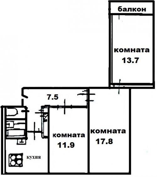 Санкт-Петербург,Жени Егоровой ул. - 3 комн. квартира продажа (вторичное)