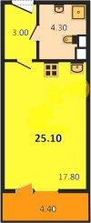 1 комн. квартира продажа(вторичное),Ленинградская область, Всеволожский, Кудрово  дер., Европейский пр. (Кудрово) д.8